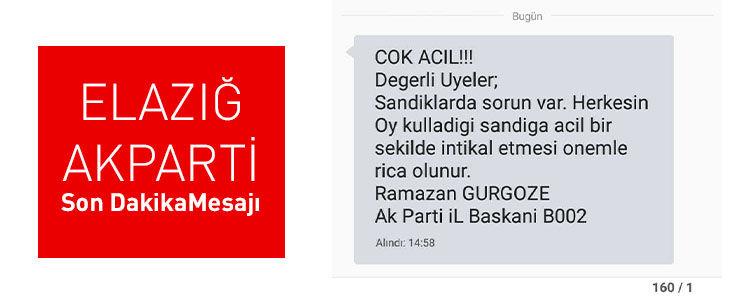 Elazığ Sandıklarda Sorun Var Herkes Sandık Başına SMS - AK Parti